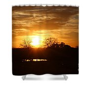 Sun Setting Over The Pond Shower Curtain