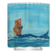 Sunbathing Mermaid Shower Curtain
