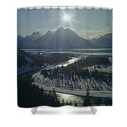 1m9313-sunburst Over Grand Teton, Wy Shower Curtain