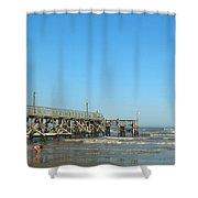Sunday At Surfside Pier Shower Curtain