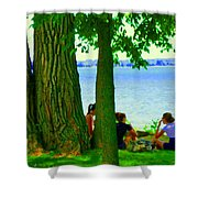 Sunday Picnic On The Lake Maple Trees At The Canal Pte Claire Montreal Waterscene Carole Spandau Shower Curtain