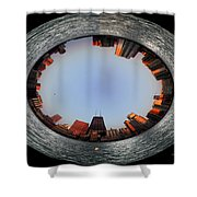 Sundown In The Chicago Canyons Polar View Shower Curtain by Thomas Woolworth