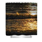 Sundown On The Waves Shower Curtain