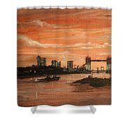 Sundown Over Tower Bridge London Shower Curtain