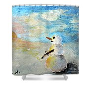 Sundown Snowman Shower Curtain