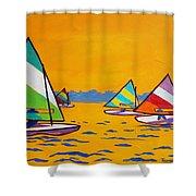 Sunfish Sailboat Race Shower Curtain