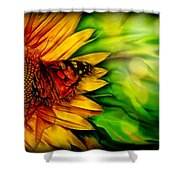 Sunflower And Butterfly Shower Curtain