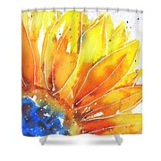 Sunflower Blue Orange And Yellow Shower Curtain