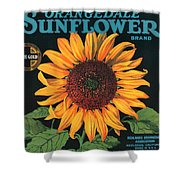 Sunflower Brand Crate Label Shower Curtain