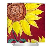 Sunflower On Red Shower Curtain