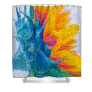 Sunflower Profile Impressionism Shower Curtain