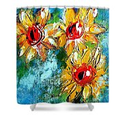 Sunflower Study Painting Shower Curtain