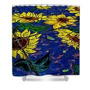 Sunflower Tiled Oil Painting Shower Curtain