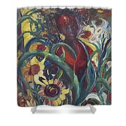 Sunflower Woman #1 Shower Curtain by Avonelle Kelsey