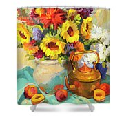 Sunflowers And Copper Shower Curtain