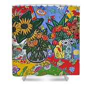 Sunflowers And Poppies Shower Curtain