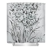 Sunflowers Black And White Shower Curtain
