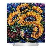 Sunflowers Bouquet In Vase Shower Curtain