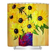 Sunflowers In A Red Pot Shower Curtain