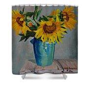 Sunflowers In Blue Vase Shower Curtain