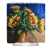 Sunflowers In Copper Shower Curtain