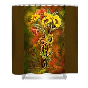 Sunflowers In Sunflower Vase Shower Curtain by Carol Cavalaris
