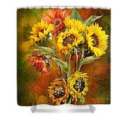 Sunflowers In Sunflower Vase - Square Shower Curtain by Carol Cavalaris