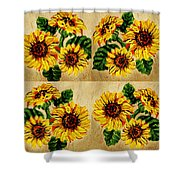 Sunflowers Pattern Country Field On Wooden Board Shower Curtain