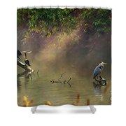 Sunglow Heron Shower Curtain