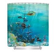 Sunken Ship Habitat Shower Curtain