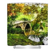 Sunlit Bridge In Park Shower Curtain