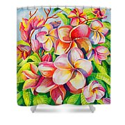 Sunlit Plumeria Shower Curtain