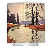 Sunlit River - Chess At Latimer Shower Curtain
