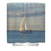 Sunlit Sailboat Shower Curtain