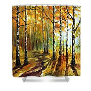 Sunny Birches - Palette Knife Oil Painting On Canvas By Leonid Afremov Shower Curtain
