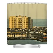 Sunny Day In Atlantic City Shower Curtain by Trish Tritz