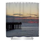 Sunny Isles Fishing Pier Sunrise Shower Curtain