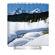 Sunny January Day Sawtooth Mountains Shower Curtain