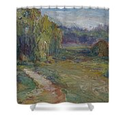 Sunny Morning In The Park -wetlands - Original - Textural Palette Knife Painting Shower Curtain