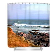 Sunny Ocean Shoreline Shower Curtain