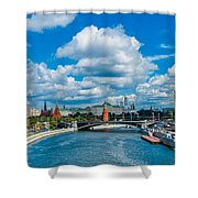 Sunny River And Moscow Kremlin Shower Curtain