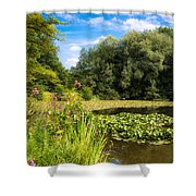 Sunny Summer Day At The Lake Beautiful Green And Blue Colors Shower Curtain