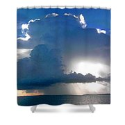 Sunny Waterfall Over The Bay Filtered Shower Curtain