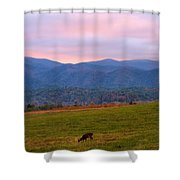 Sunrise And Deer In Cades Cove Shower Curtain