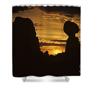 Sunrise Arches National Park With Balanced Rock Silhouetted Agai Shower Curtain
