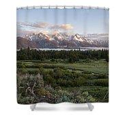 Sunrise At Grand Teton Shower Curtain by Brian Harig