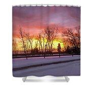 Sunrise At The Barn Shower Curtain