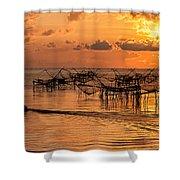 Sunrise At The Fishing Village Shower Curtain