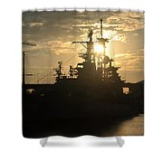 Sunrise At The Naval Base Silhouette Erie Basin Marina V1 Shower Curtain
