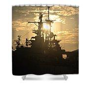 Sunrise At The Naval Base Silhouette Erie Basin Marina V2 Shower Curtain